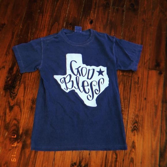 Comfort Colors Tops - A light blue god bless shirt